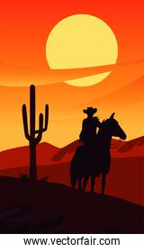 wild west sunset scene with cowboy in horse and cactus