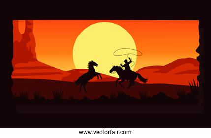 wild west desertic sunset scene with cowboy and horses