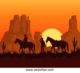 wild west sunset scene with cowboys and horses