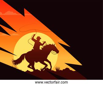 wild west sunset scene with cowboy in horse lassoing