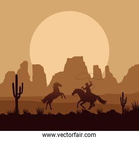 wild west desertic sunset scene with horses and cowboy