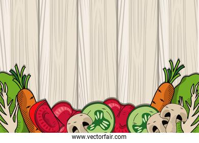 healthy and vegetarian food in wooden background