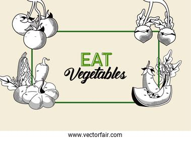 eat vegetables lettering poster with healthy food in rectangular frame