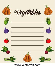 vegetables lettering in paper note with nutritive food