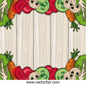 healthy and vegetarian food frame in wooden background