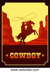 cowboy lettering in wild west scene with cowboy lassoing