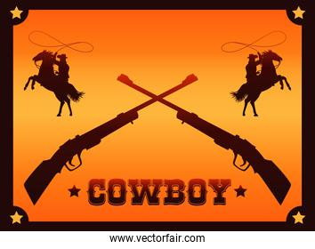 cowboy lettering in wild west poster with cowboys lassoing and rifles