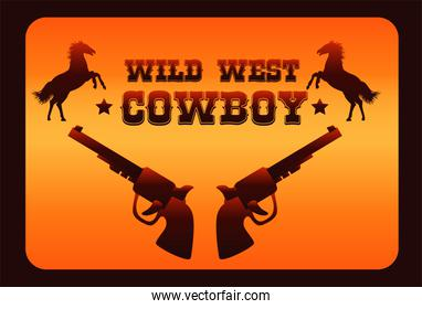 wild west cowboy lettering poster with horses and guns