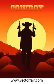 cowboy lettering in wild west scene with cowboy and guns