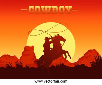 cowboy lettering in wild west scene with cowboy lassoing in horse
