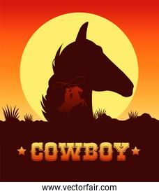 cowboy lettering in wild west scene with cowboy lassoing and head horse