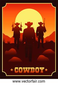 cowboy lettering in wild west scene with cowboys and guns