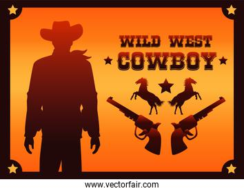 wild west cowboy lettering poster with horses and cowboy