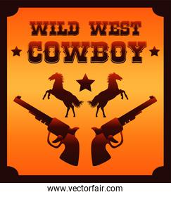 wild west cowboy lettering with horses and guns poster