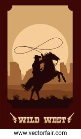 wild west lettering in poster with cowboy in horse lassoing