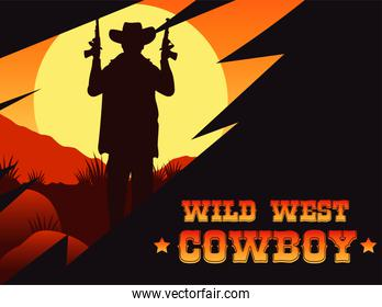 wild west cowboy lettering poster with cowboy and guns