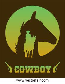 cowboy lettering in wild west poster with cowboy and horse head