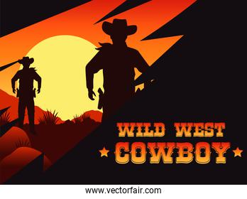 wild west cowboy lettering poster with cowboys in the desert
