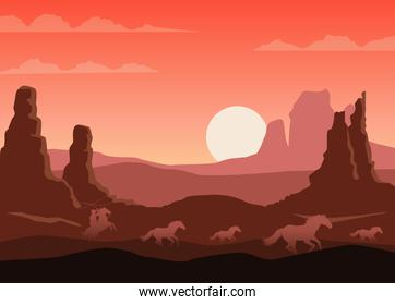 wild west sunset desert scene with cowboy and horses running