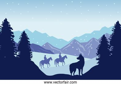 wild west snowscape scene with cowboys in horses and dog
