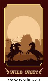 wild west lettering in poster with cowboy in horses lassoing