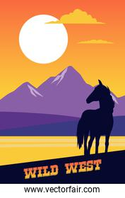 wild west lettering in poster with horse scene