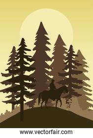 wild west sunset forest scene with cowboy in horse
