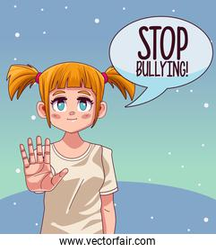 young teenager girl with stop bullying lettering in speech bubble