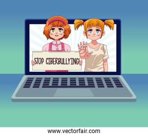 laptop with teenagers girls couple lifting stop cyber bullying banner