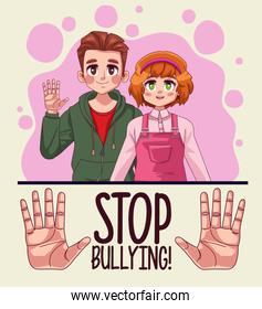 young teenagers couple with stop bullying lettering and hands stoping