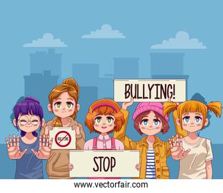 young teenagers girls with stop bullying letterings in protest banners