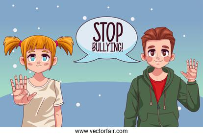 young couple with stop bullying lettering in speech bubble