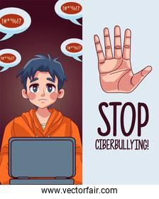 young teenager boy using laptop with stop cyber bullying lettering