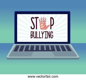 stop cyber bullying lettering and hand stoping in laptop