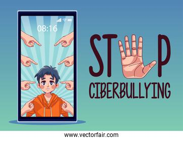 young boy in smartphone with hands bullying attacking and lettering