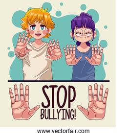 young couple with stop bullying lettering and hands stoping