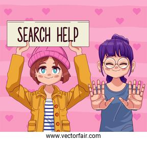 young teenagers girls couple with search help lettering in banner