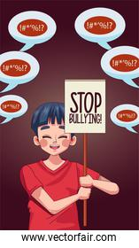 young teenager boy with stop bullying lettering in   banner