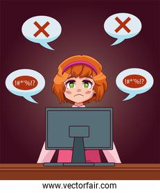 young teenager girl using desktop with speech bubbles cyber bullying scene