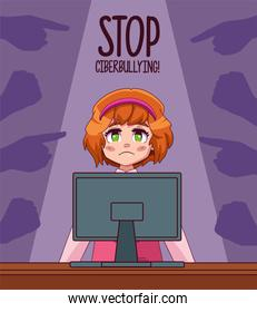 young girl using desktop with stop bullying lettering and hands attacking