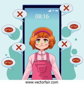 smartphone with teenager girl and speech bubbles attacking