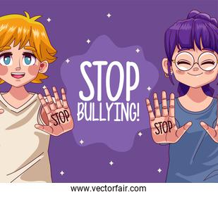 young teenagers girls couple with stop bullying lettering