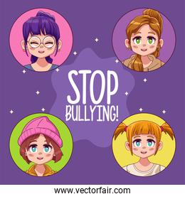 young teenagers girls with stop bullying lettering