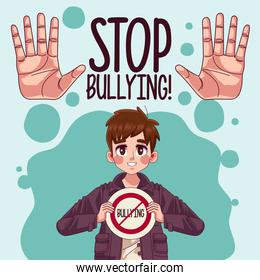 young teenager boy with stop bullying signal and hands stoping