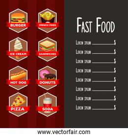 delicious fast food list menu template with lettering in red and gray background