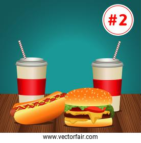 fast food menu template with combo meal number two