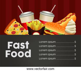 fast food menu template in black and red background