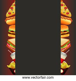 delicious fast food menu template square frame in gray background