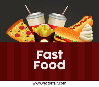 delicious fast food menu template in black and red background
