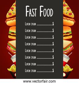 delicious fast food list menu template in red and gray background